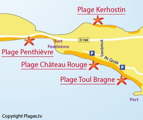 Map of Toul Bragne Beach in Saint Pierre de Quiberon