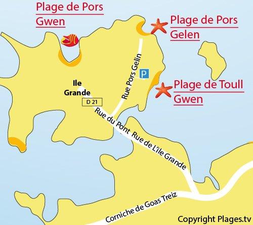 Plan de la plage de Toull Gwen sur l'Ile Grande (Pleumeur Bodou)