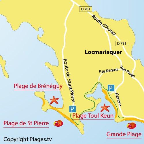 Carte de la plage de Toul Keun à Locmariaquer
