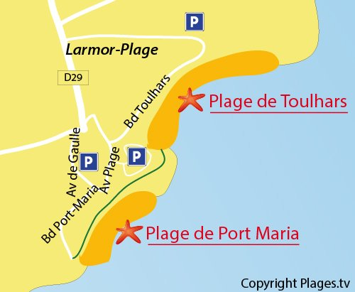 Map of Toulhars Beach in Larmor-Plage