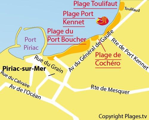 Map of Toulifaut Beach in Piriac sur Mer