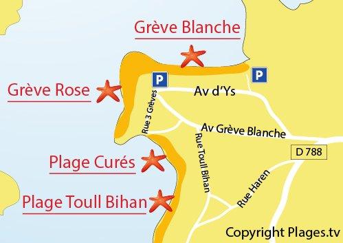 Plan de la plage de Toull Bihan à Trégastel