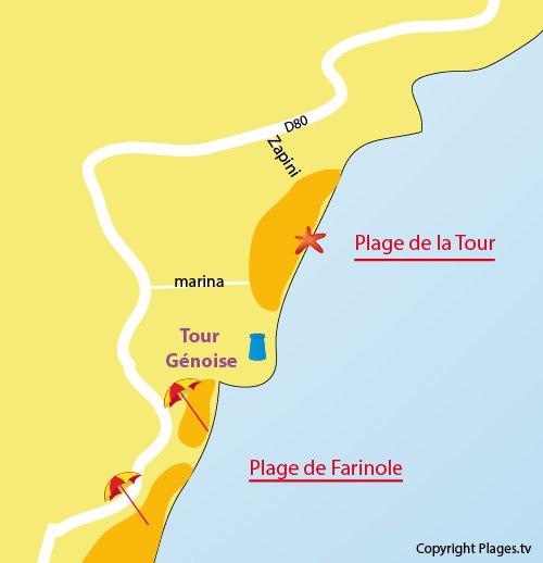 Plan de la plage de la tour Génoise à Farinole en Corse