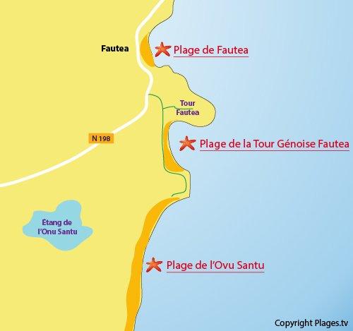 Carte de la plage de la tour génoise de Fautea