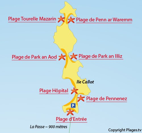 Map of Tourelle Mazarin Beach - Callot island