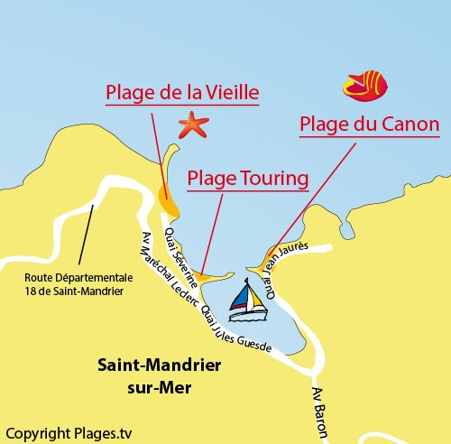 Map of Touring Beach in Saint Mandrier