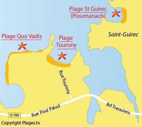 Map of Tourony Beach in Trégastel