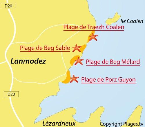 Carte de la plage de Traezh Coalen à Lanmodez