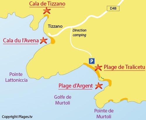 Map of Tralicetu Beach in Corsica (Cargèse)