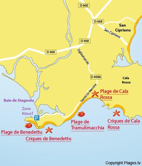 Carte de la plage de Tramulimacchia en Corse