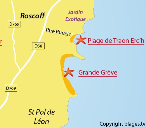 Map of Traon Erc'h Beach in Roscoff