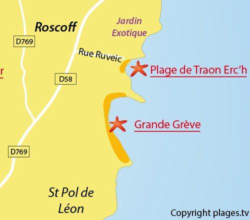 Carte de la plage de Traon Erc'h de Roscoff