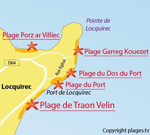 Carte de la plage de Traon Velin à Locquirec