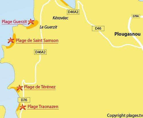 Carte de la plage de Traonazen à Plougasnou