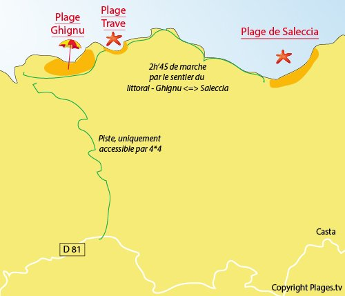 Map of Trave beach in Corsica (Desert Agriate)