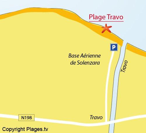 Mappa della Spiaggia di Travo in Corsica