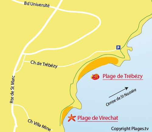 Map of Trébézy Beach in St Nazaire