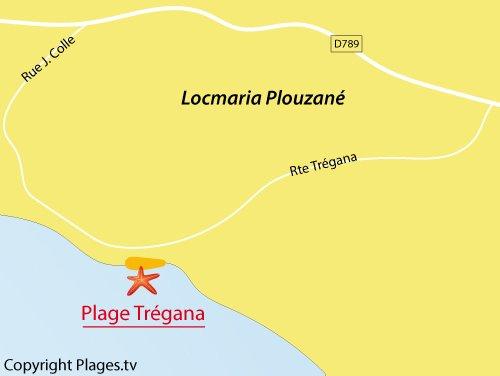 Carte de la plage de Trégana à Locmaria Plouzané
