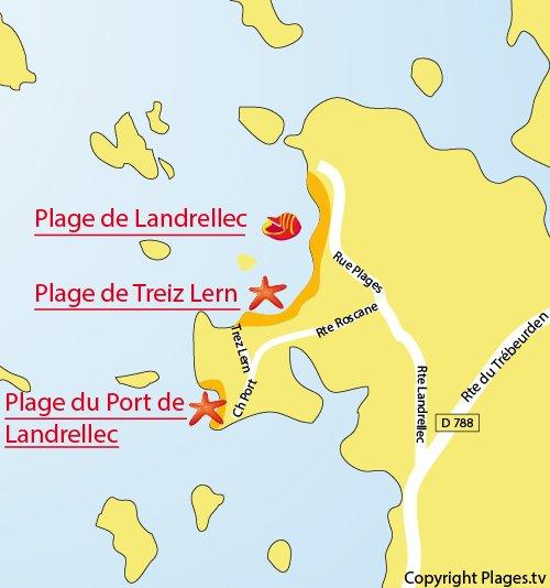 Carte de la plage de Treiz Lern à Pleumeur Bodou (22)