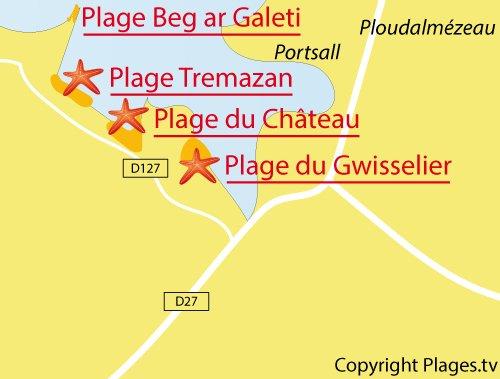Carte de la plage de Tremazan à Landunvez