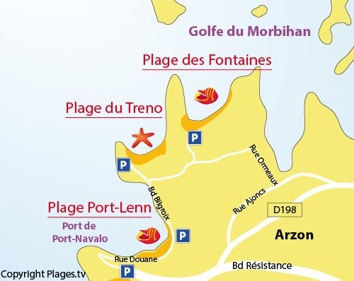 Map of Treno Beach in Arzon