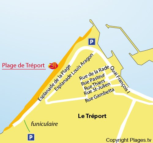 Map of Tréport beach in France