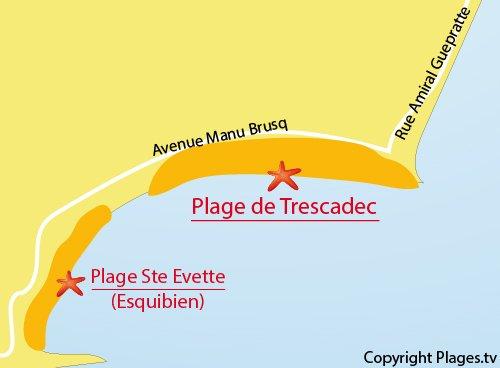 Carte de la plage de Trescadec à Audierne