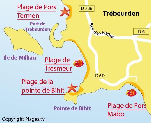 Carte de la plage de Tresmeur à Trébeurden