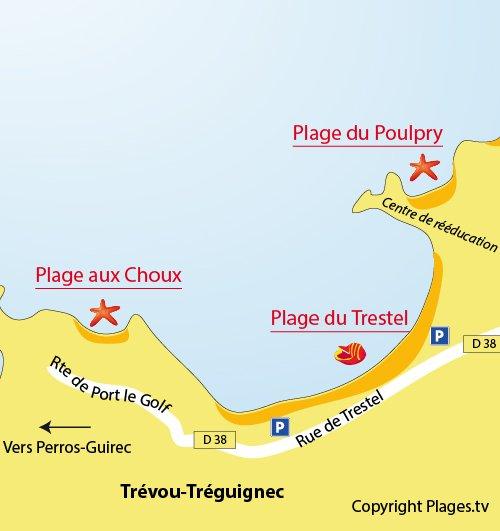 Plan de la plage du Trestel à Trévou Tréguignec - Bretagne