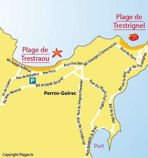 Mappa della Spiaggia di Trestraou a Perros Guirec