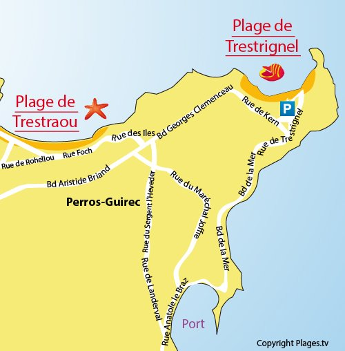 Carte de la plage de Trestrignel à Perros Guirec