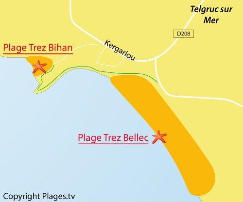Carte de la plage de Trez Bellec à Telgruc sur Mer