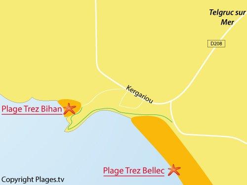 Carte de la plage de Trez Bihan à Telgruc sur Mer