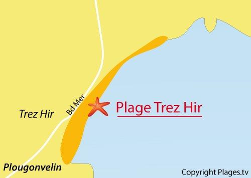 Carte de la plage de Trez Hir à Plougonvelin - Bretagne