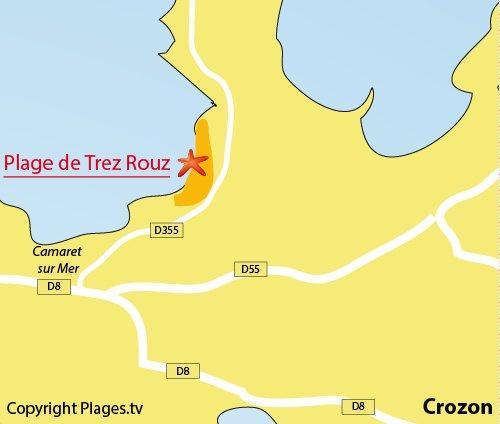 Map of Trezh-Rouz Beach in Crozon