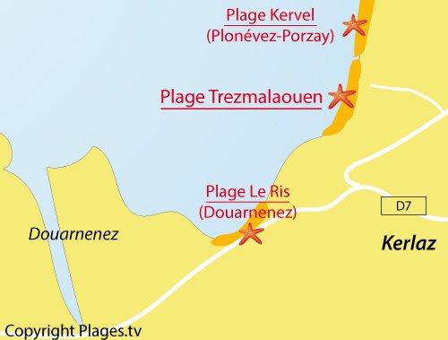 Carte de la plage de Trezmalaouen à Kerlaz en Bretagne