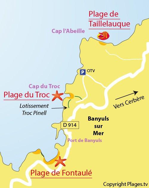 Carte de la plage du Troc à Banyuls sur Mer 66