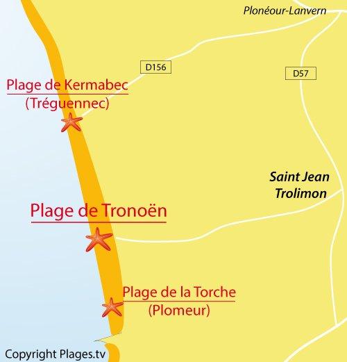 Carte de la plage de Tronoen à Saint Jean Trolimon