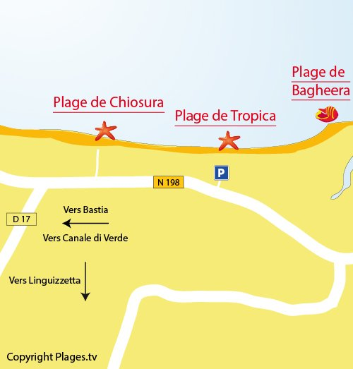 Map of Tropica Beach in Linguizzetta