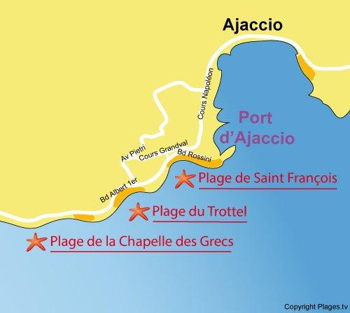 Mappa spiaggia del Trottel a Ajaccio