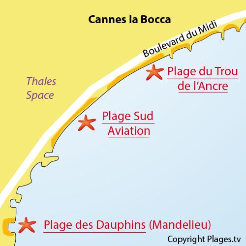 Map of Trou de l'Ancre Beach in Cannes La Bocca