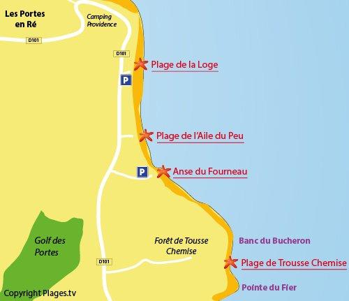 Carte de la plage de Trousse Chemise aux Portes en Ré