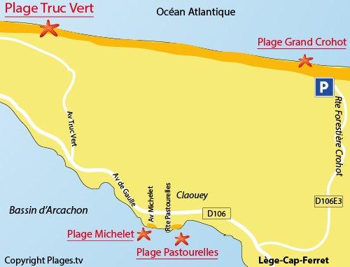 Map of Truc Vert Beach in Cap-Ferret