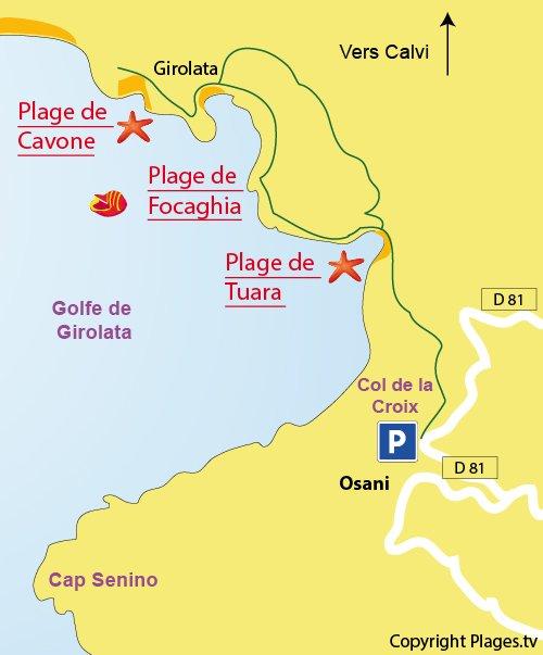 Map of Tuara beach in Corsica - Gulf of Girolata