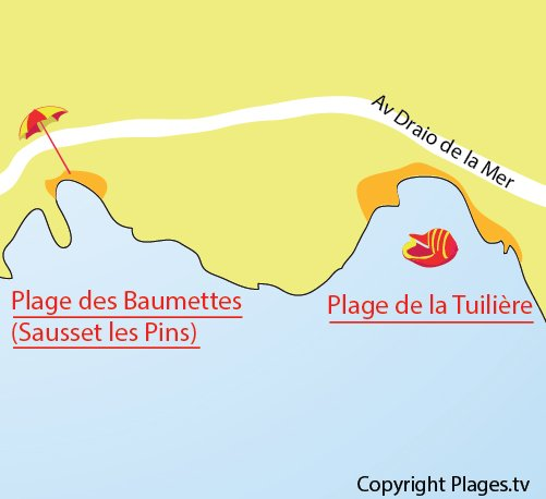 Map of Tuilière Beach in Carry le Rouet