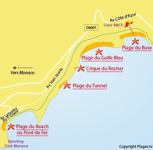 Carte de la plage du Tunnel à Roquebrune Cap Martin