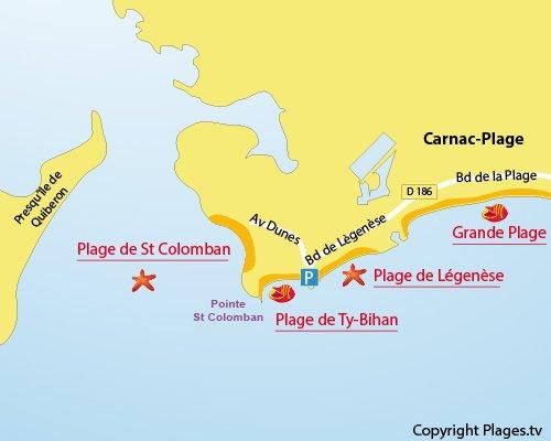 Carte de la plage de Ty Bihan à Carnac - 56