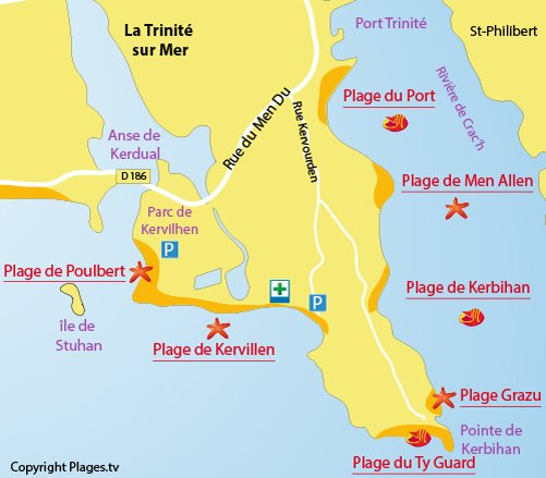 Map of Ty Guard Beach in La Trinité sur Mer in France