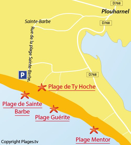 Carte de la plage de Ty Hoche à Plouharnel