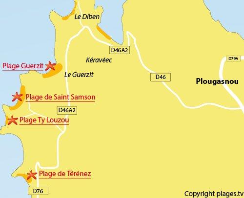 Carte de la plage de Ty Louzou à Plougasnou